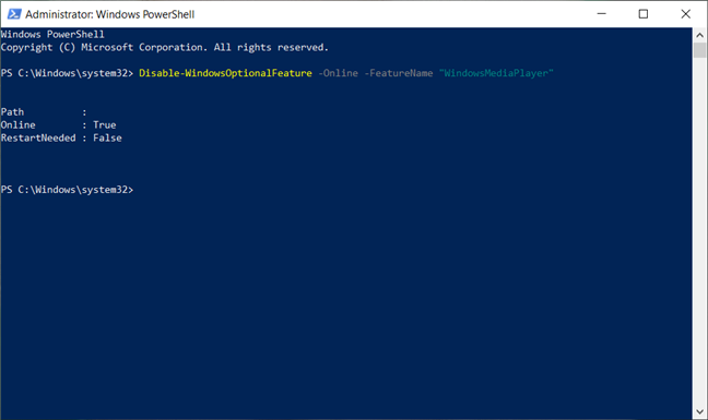 Removing Windows Media Player from Powershell