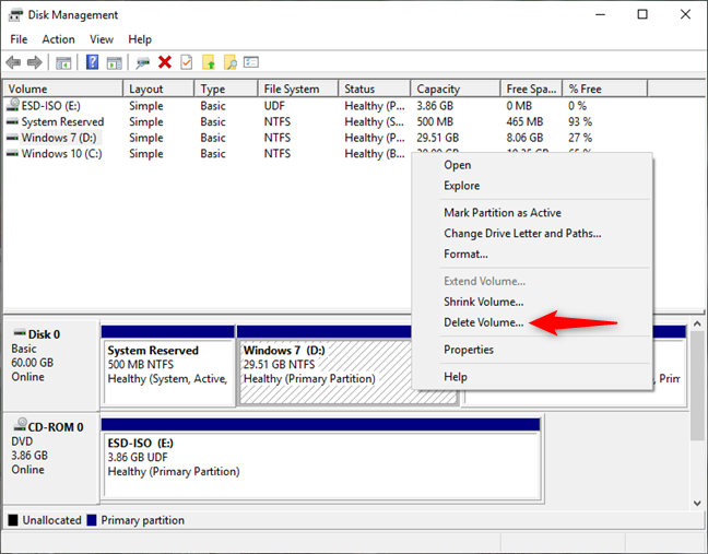 Deleting a Windows partition in Disk Management