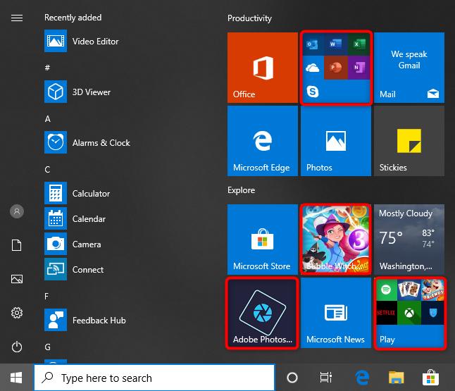 Bloatware apps bundled by Windows 10