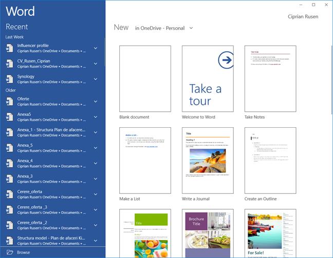 The Word Universal Windows Platform app