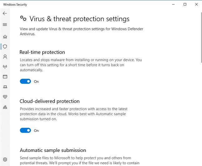 Los interruptores para activar y desactivar las funciones del antivirus de Windows Defender