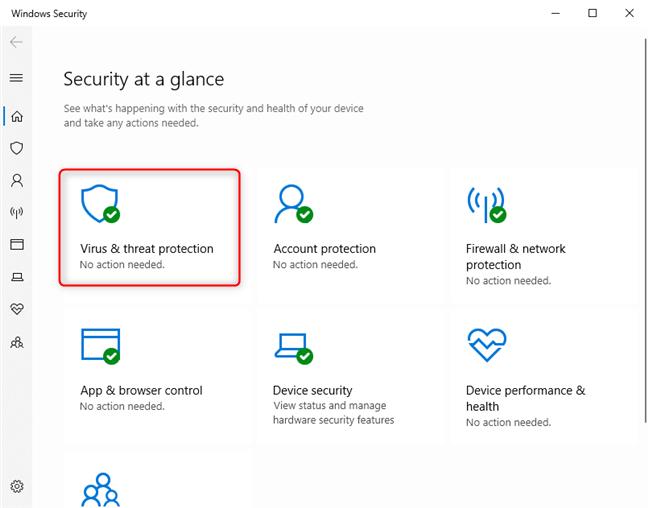 El virus & amp;  configuración de protección contra amenazas