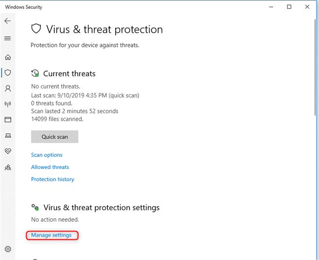 El enlace Administrar configuración de Seguridad de Windows