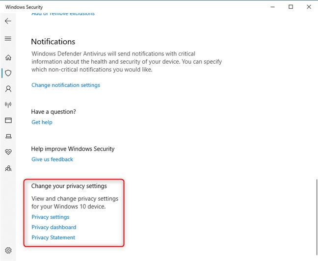 La configuración de privacidad de Seguridad de Windows