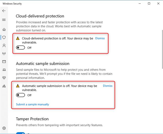 Desactivación de la protección proporcionada en la nube y el envío automático de muestras
