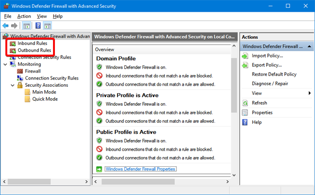 Inbound and Outbound Rules for Windows Defender Firewall