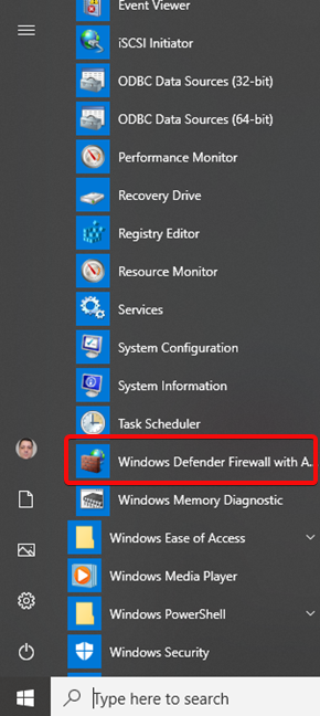 Windows Defender Firewall with Advanced Security in the Windows 10 Start Menu