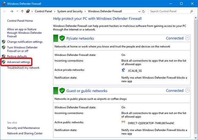 Open Advanced settings in Windows Defender Firewall