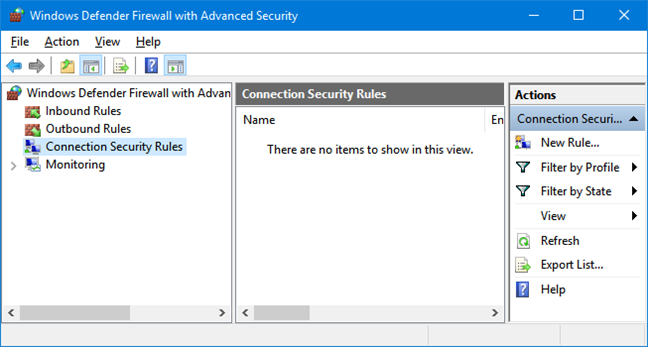 Connection Security Rules in Windows Defender Firewall