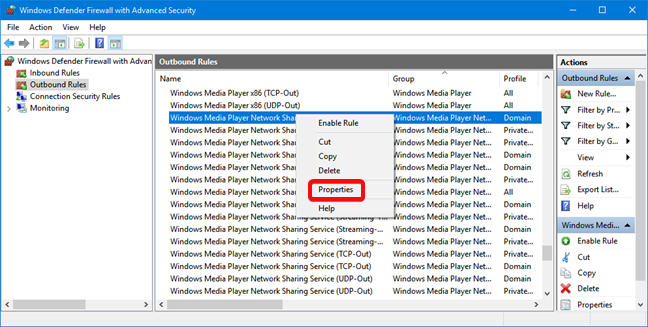 Open Properties for a Windows Defender Firewall rule