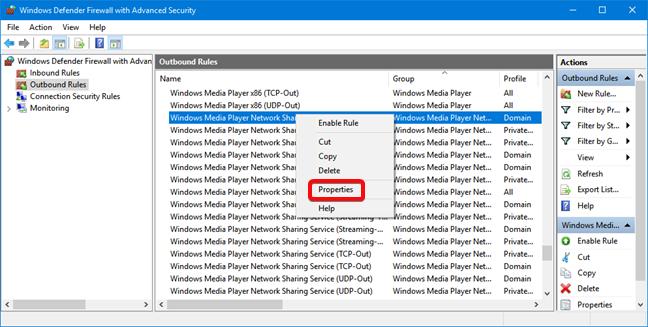 Open Properties for a Windows Defender Firewall rule
