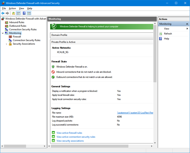 Monitoring in Windows Defender Firewall