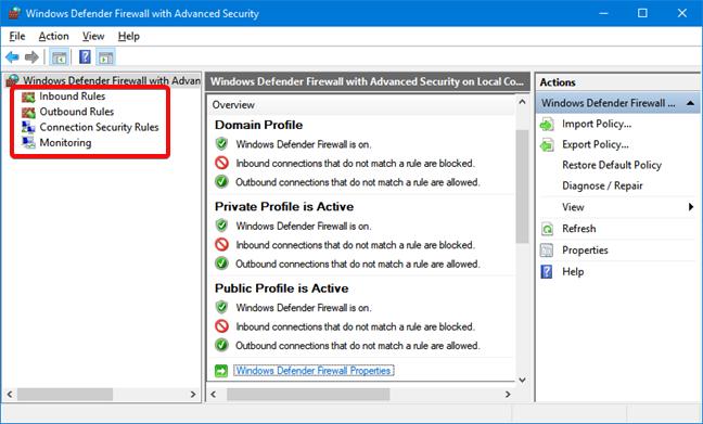 Windows Defender Firewall advanced settings
