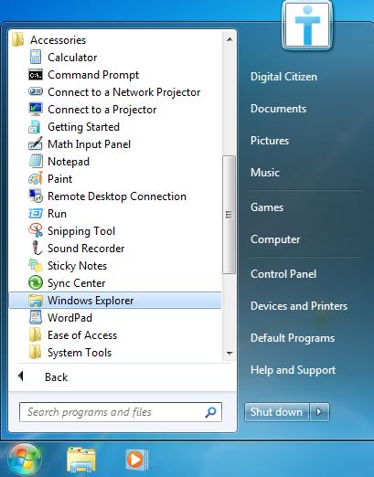 Windows 7, Windows Explorer, folder