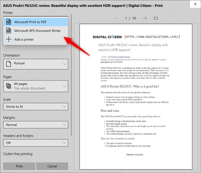 Microsoft Print to PDF and Microsoft XPS Document Writer