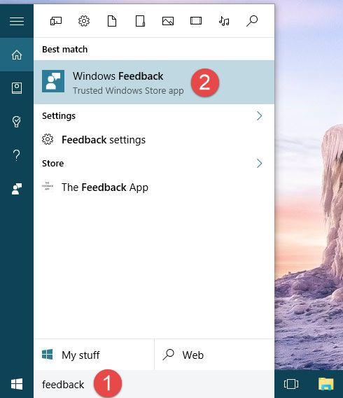 Windows Feedback, app, Windows 10, Microsoft, report, problems, features