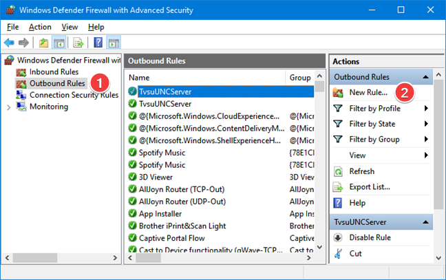 Create a new outbound rule for Windows Defender Firewall