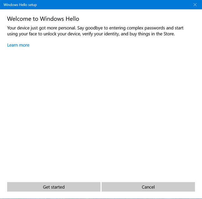 Windows Hello setup wizard