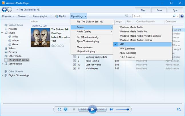 Windows Media Player - audio format settings