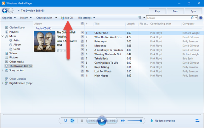 Windows Media Player Windows 10 RIP MP3