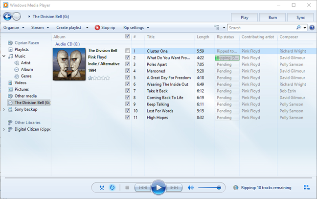 Ripping an audio CD in Windows Media Player