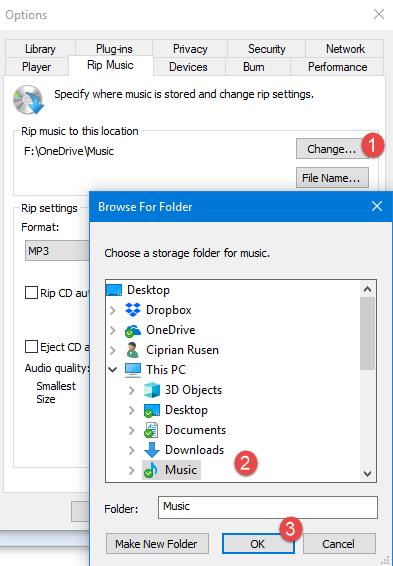 Change the folder where you rip music