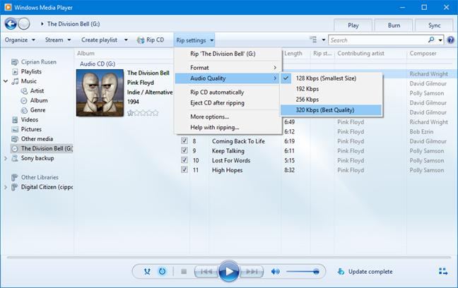 Windows Media Player - audio quality settings