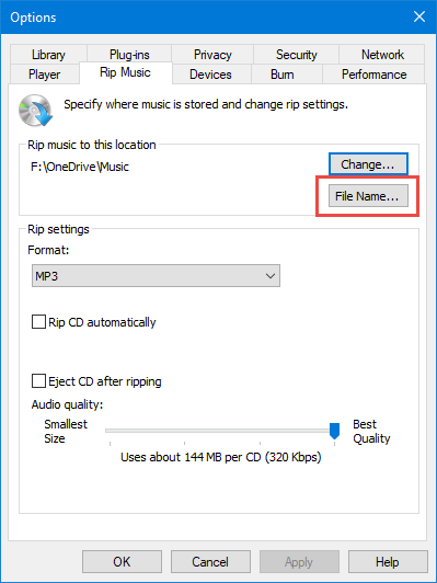 Change the file name for your ripped music
