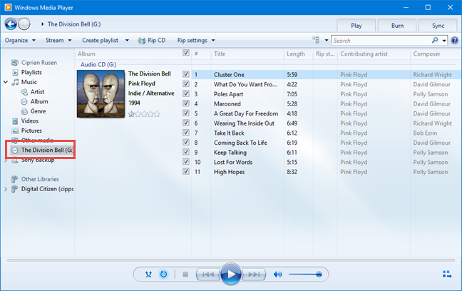 Accessing the audio CD in Windows Media Player