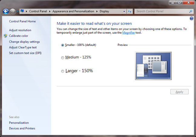 Make it easier to read what's on your screen in Windows 7