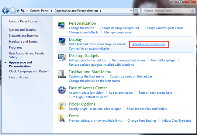 The link for Adjust screen resolution, in Windows 7