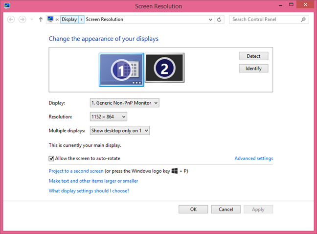 The Screen Resolution window with multiple monitors available