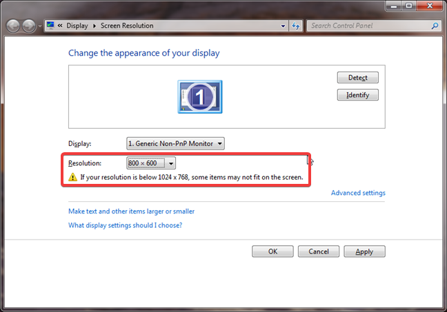 Small resolution warning in Windows 7