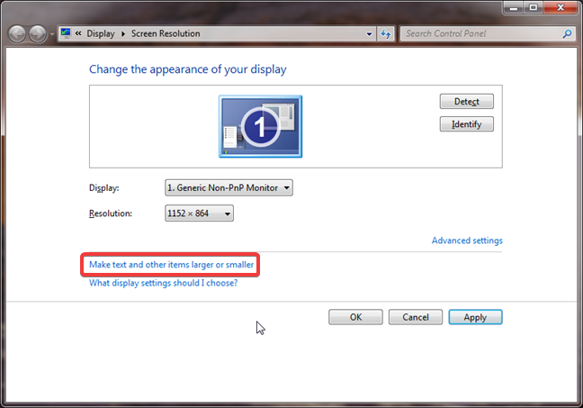 Make text and other items larger or smaller in Windows 7