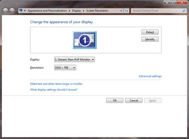 The Screen resolution window in Windows 7