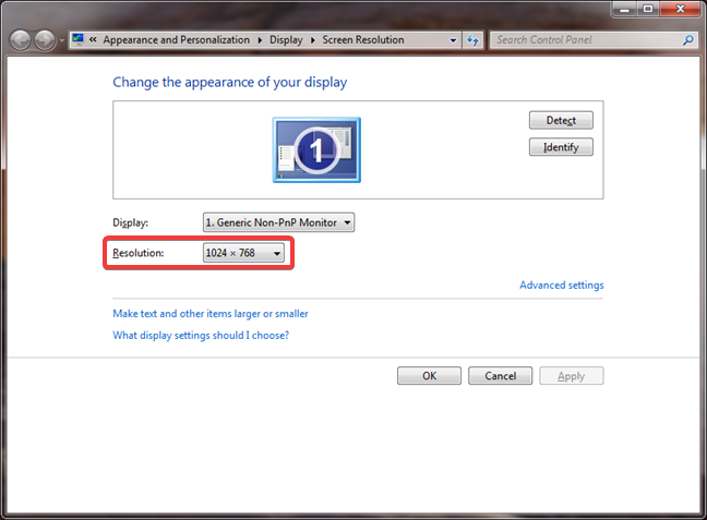 Changing the screen resolution in Windows 7
