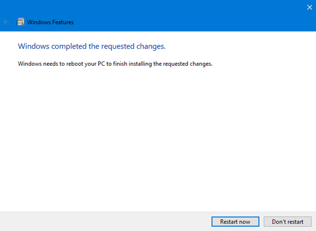 Windows needs a restart to finalize installing Windows Sandbox
