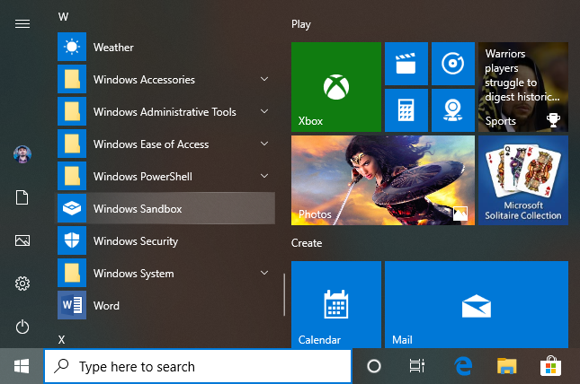 The Windows Sandbox shortcut