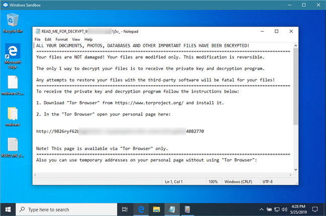 Running an executable file which proved to be ransomware, in Windows Sandbox