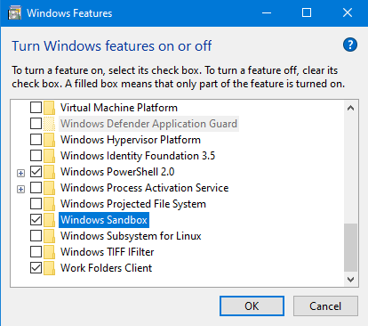 Enable Windows Sandbox in Windows 10