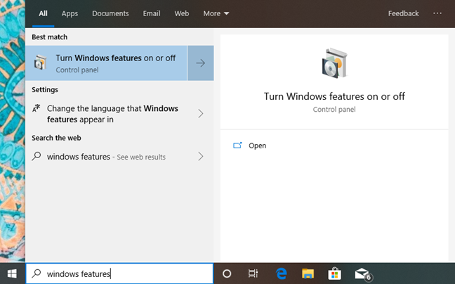 Search for windows features in Windows 10
