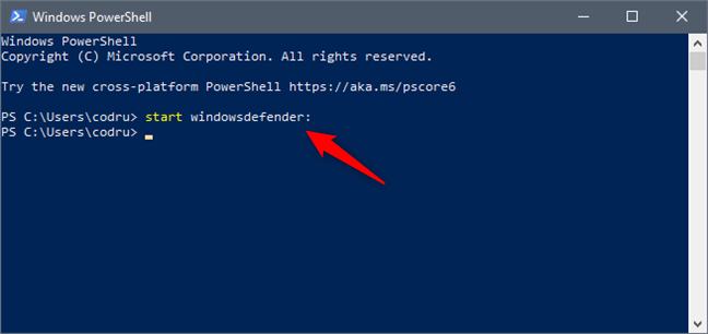 Opening Windows Security from PowerShell