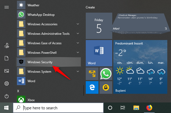 Opening Windows Security from the Windows 10 Start Menu