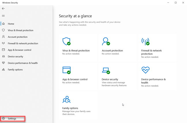 Windows Security - click or tap Settings