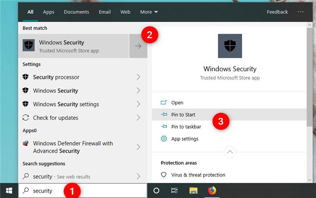 Pinning Windows Security to Start or taskbar