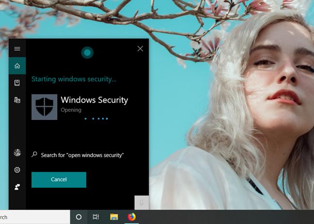 Asking Cortana to open Windows Security