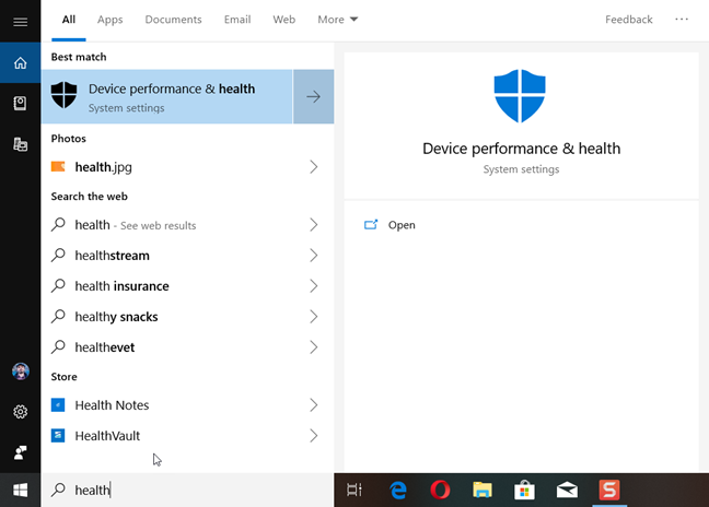 Search for health in Windows 10