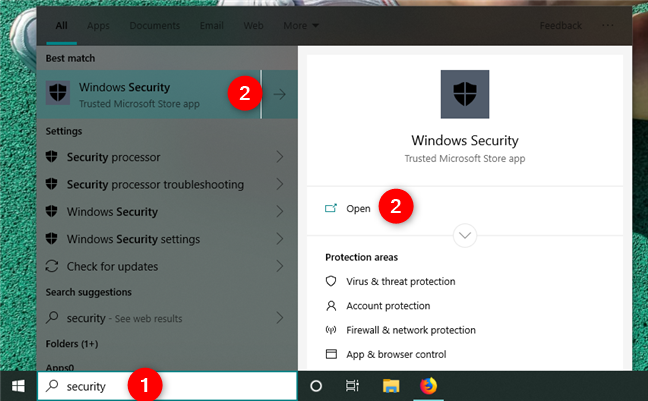 Searching for Windows Security in Windows 10