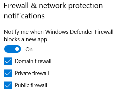 Windows Security - Firewall & network protection notifications