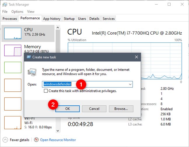 Opening Windows Security from the Task Manager